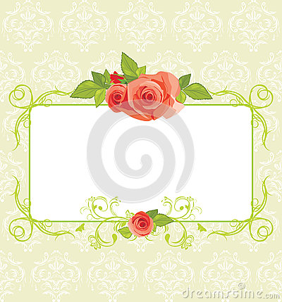 Frame with roses on the ornamental background