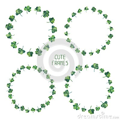 Free Frame Set Of Watercolor Green Clover Leaves For Stock Image - 48663881