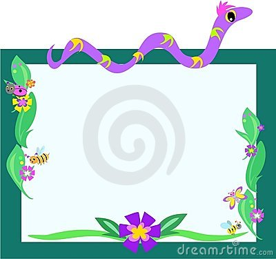 Frame of Snake, Retro Flowers, and Bugs