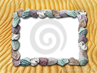 Frame of stones on a background of sand dunes