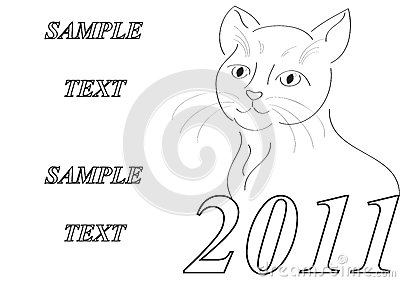 Frame with styled cat New Year symbol