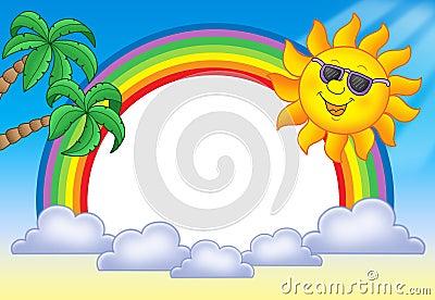 Frame with Sun and rainbow