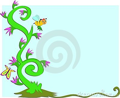 Frame of Swirling Plants, Flowers, Bee and Butterf