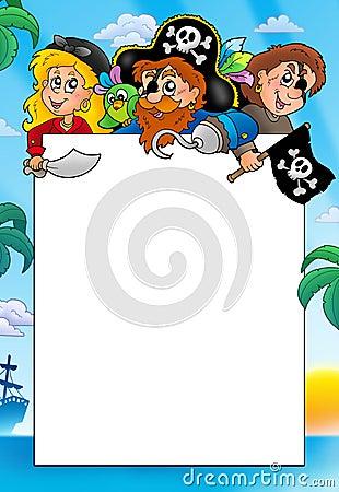 Frame with three cartoon pirates