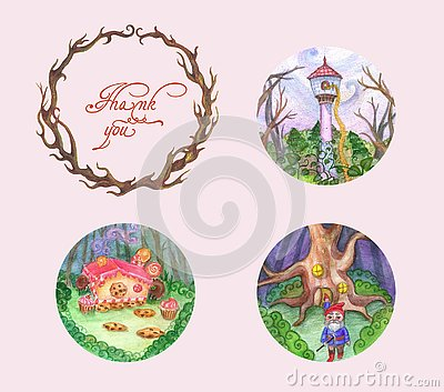 Frame, tree, branch, pictures, illustrations, fairy tales, children Vector Illustration