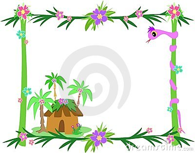 Frame of Tropical Plants, Snake, and Hut