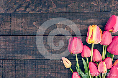 Frame of tulips on dark rustic wooden background. Spring flowers Stock Photo