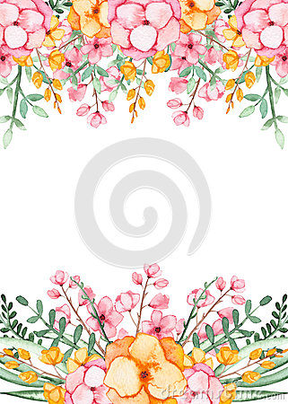 Frame With Watercolor Bright Yellow Flowers And Green Leaves Stock Photo