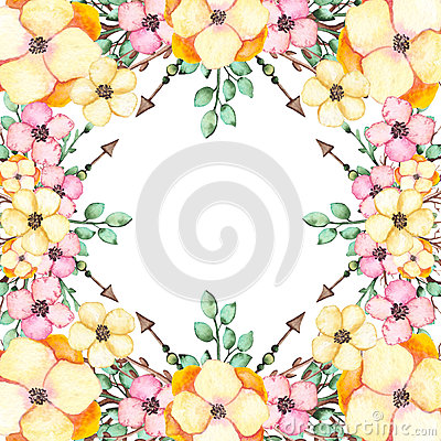 Frame With Watercolor Pink And Yellow Flowers Stock Photo