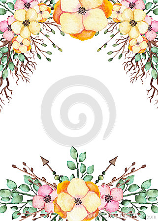Frame With Watercolor Yellow Flowers, Branches And Arrows Stock Photo
