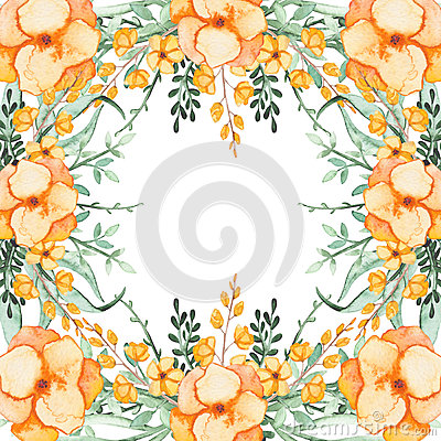 Frame With Watercolor Yellow Flowers and Light Green Herbs Stock Photo
