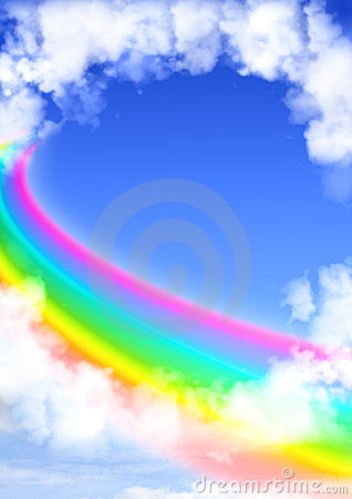 Frame From White Clouds And Rainbow Stock Images - Image: 22807184