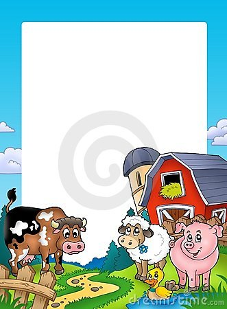 Free Frame With Barn And Farm Animals Royalty Free Stock Photos - 15719558