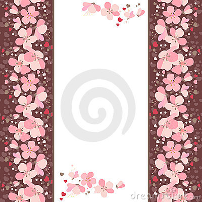 Free Frame With Pink Cherry Flowers Royalty Free Stock Image - 17961796