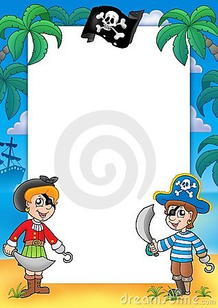 Free Frame With Pirate Boy And Girl Stock Photos - 8721563