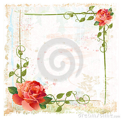 Free Frame With Red Roses And Ivy Royalty Free Stock Photography - 25035607