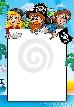Free Frame With Three Cartoon Pirates Royalty Free Stock Photo - 14589335
