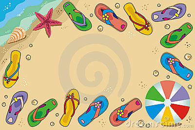 Framed beach vacation background with flip-flops