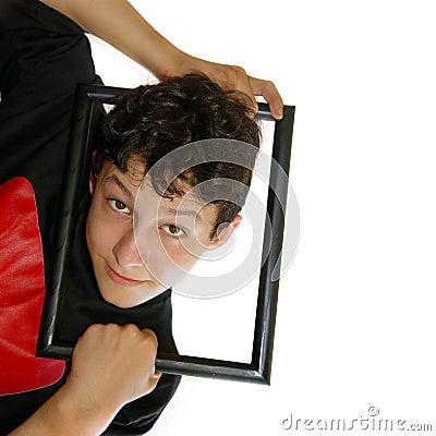 Framed boy Stock Photo