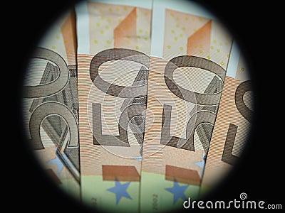 Framed Euro bank notes