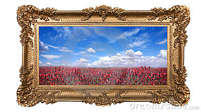 Framed Field of Pretty Red Flowers and Beautiful S