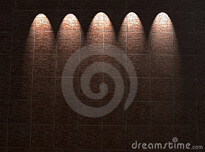 Framed red brick wall lighting, architecture,