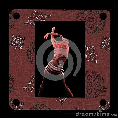 Framed red skin woman photomontage