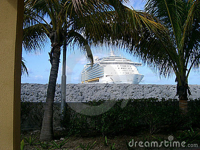 Framed Ship with Palms