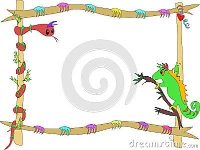 Framed Snake and Chameleon