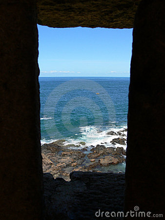 Framed view of rocky shore