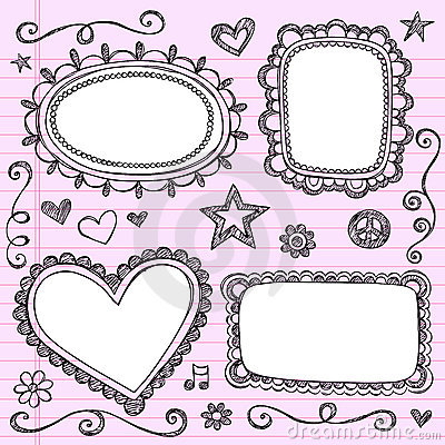 Frames Borders Sketchy Doodles Vector Set