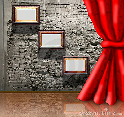 Frames on brick wall and curtain collage