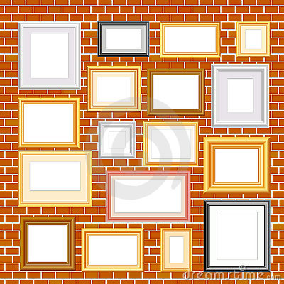 Frames on brickwall