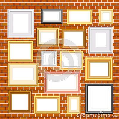 Frames on brickwall