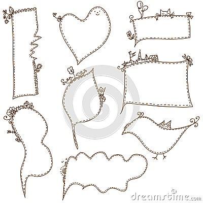 Frames doodle funny set