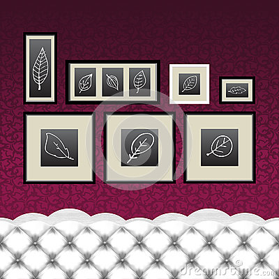 Frames, drawings, vintage couch