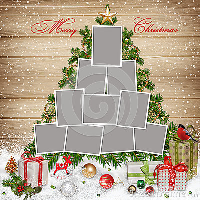 Free Frames For Family, Christmas Decorations And Gifts On Wooden Background Stock Images - 35889064