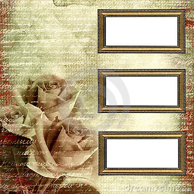Frames on glamour grunge background with roses