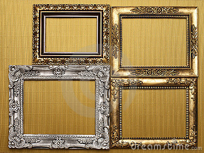 Frames on gold background