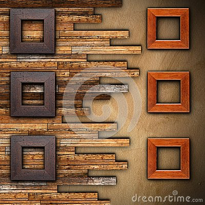 Free Frames On Wooden Finished Wall Royalty Free Stock Images - 38184479