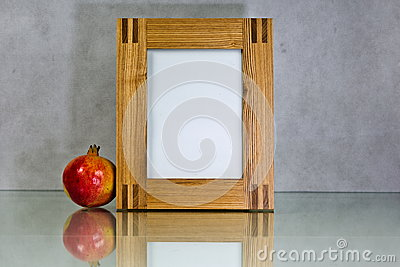 Frames and pictures reflection wooden pomegranate