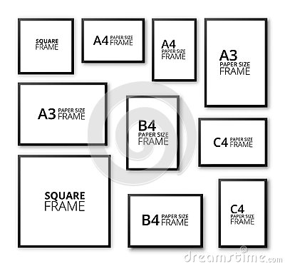 set of black frames of different sizes on a white background stock illustration image 68592779
