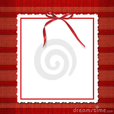 Framework for invitations. A red bow.