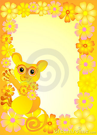 Framework for photo with funny tarsier, vector