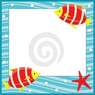 Framework for photos. Sea theme. Fishes.