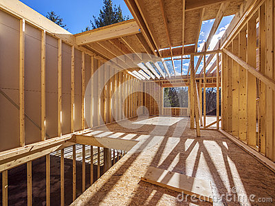 Framing construction of a  new house