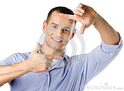Framing hands gesture of man