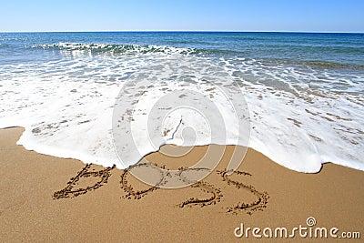 Framstickande som är skriftligt på stranden