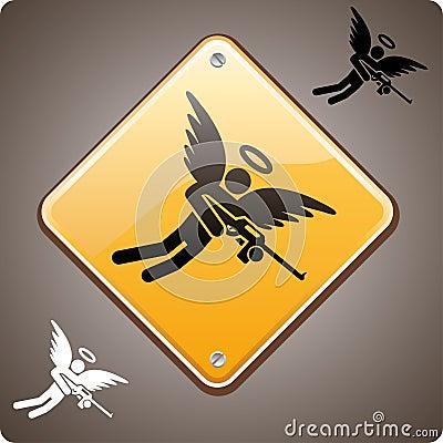 Framåt beväpnad varning för ängel