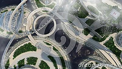 Framtida stadshorisont för begrepp Futuristiskt affärsvisionbegrepp